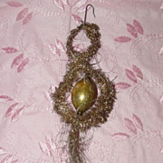 Very Old Tinsel Christmas Ornament with Wire Wrapped Ball