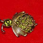 Green Rhinestone Beetle Bug Pin