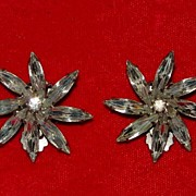 Pair of Weiss Rhinestone Earrings - Flower Blossoms