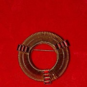 Round Brooch with Red Baguettes Marked Weiss
