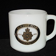 Federal Glass Old Fort Henry Milkglass Mug