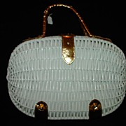 Large Vintage Koret White Wicker Purse with Italian Leather