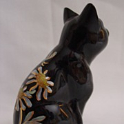 Fenton Handpainted Black Cat with Golden Daisies