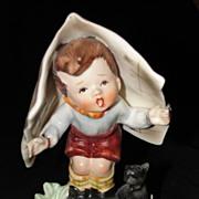 Vintage Napco Figurine Keeping Dry