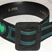 Vintage Escada Designer Leather Belt Black with Green Hearts