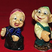 Seven Dwarfs Rare Pair of Salt and Pepper Shakers Japan