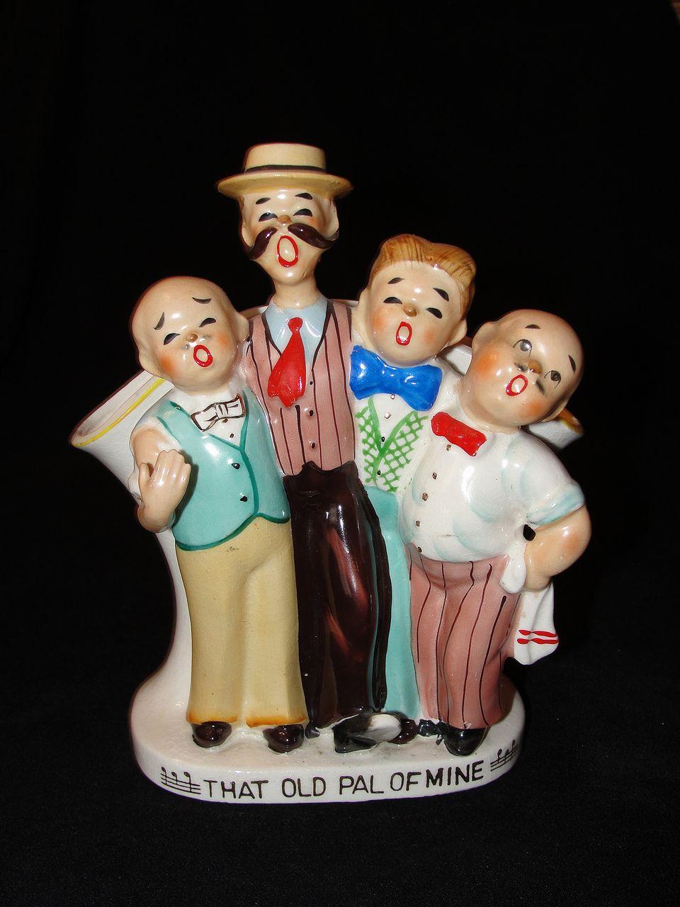 Vintage Ceramic Barber Shop Quartet Vase Made in Japan