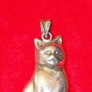 Vintage Sterling Silver Kitty Cat Pendant