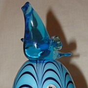 Dave Fetty Off Hand Bird on Glass Egg for Fenton
