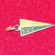 Vintage Oswego State University Enamel Pennant Charm