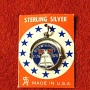 Vintage Sterling Silver Bicentennial Spinner Charm with Enamel
