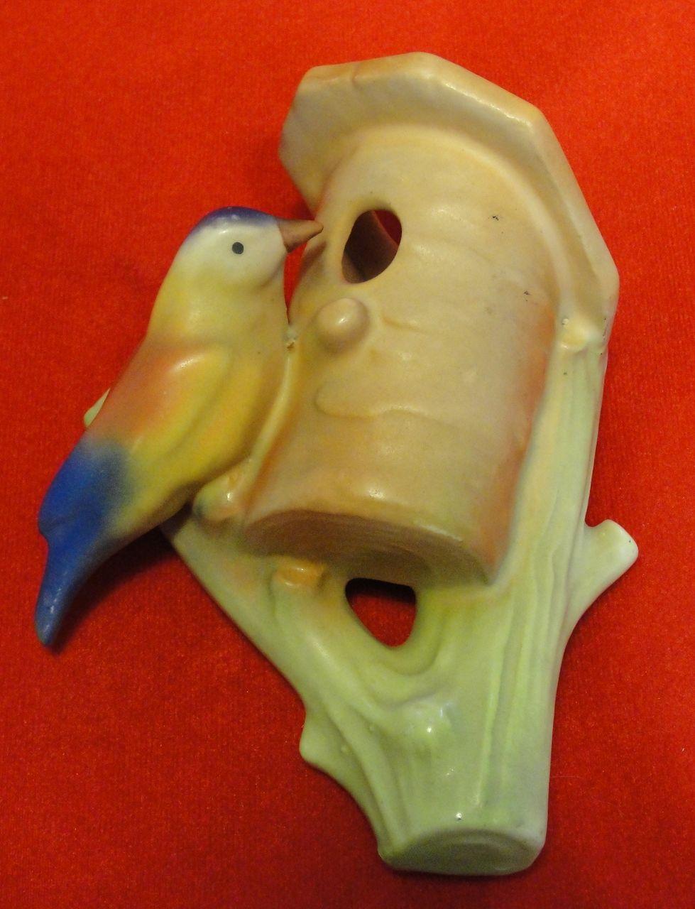 Colorful Ceramic Czech Bird on Birdhouse Wall Pocket or Vase
