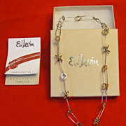 Ed Levin Sterling Silver and 14K Gold Necklace 18 inches
