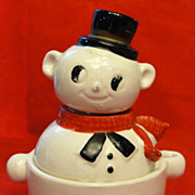 Three Piece Snowman Salt Pepper and Sugar or Jam Bowl
