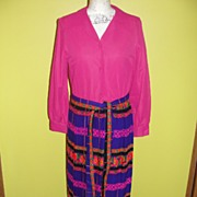 Hot Pink and Purple Passion Swinging 70's Floor Length dress