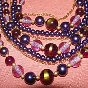 Violet and Lavender Multi-strand Necklace _ Free Shipping