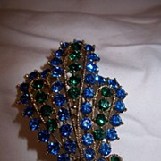 Beautiful Blue and Kelly Green Brooch - Free Shipping