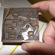 SALE Copper Printing Block #1 - Plan Your Work - Free shipping