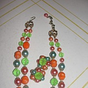 Lime Green and Mandarin Orange Necklace and Clip-on Earrings - Free Shipping