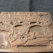 SALE Copper Printing Block #18 Buster Looks out for Business - Free shipping