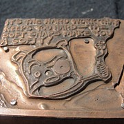 SALE Copper Printing Block #19 Buster Works Hard - Free shipping