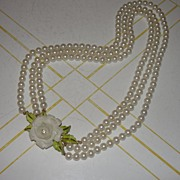 A rose for the Lady Triple Strand Faux pearl Necklace - Free Shipping