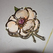 Peachy Enamel Flower Brooch/Pin - Free Shipping