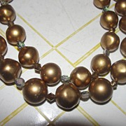 Gold Bead Double Strand Aurora Borealis Accent Necklace - Free Shipping