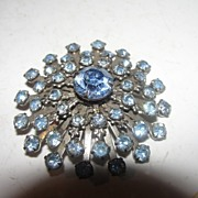 Bright Blue Starburst Rhinestone Brooch - Free shipping