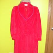 Red Corduroy Shirtwaist dress with Blue Trim