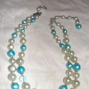 Aqua and Blue Aurora Borealis Bead Necklace - Free Shipping