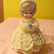 Bubble Hair Blond with Pill Box Hat and Yellow Crocheted Dress Doll - b55