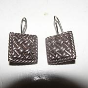 Basket Weave J-hook Earrings - Free shipping