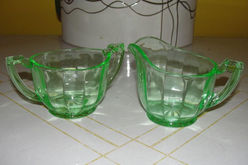 Green Glass Creamer and Sugar Bowl - b26