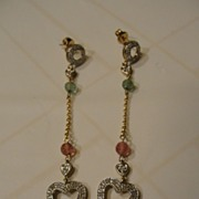 SALE Piece of My Heart Pink and Green Tourmaline 10K Yellow Gold Pieced Ear Earrings - Free sh