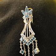 SALE Brilliant Blue Topaz with diamond Accent 10K White Gold Pendant - Free Shipping