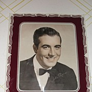 Burgundy and White Glass Picture Matt/Frame with John Payne Photo - b26