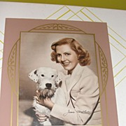 Very Deco Mauve and Gold Glass Picture Matt/Frame with Photo of Jean Arthur - b26