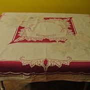 Subtle Flowers Against Fuchsia Border Tablecloth