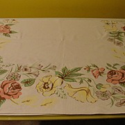 Yellow Poppies and Pink Roses Tablecloth