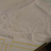 Round White on White Embroidered Butterfly and Rose Tablecloth