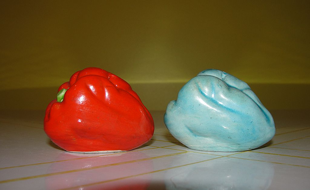 Odd Green and Very Red Pepper Salt and Pepper Shakers