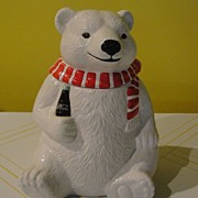 SALE Coke Bear with Red and White Scarf Cookie Jar