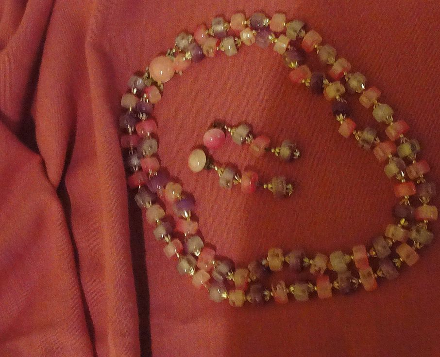 Powder Pink and Passionate Purple Double Strand necklace and Clip-on Earrings - Free Shipping
