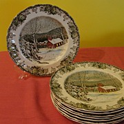 Johnson Brothers  ''The Friendly Village'' The School House Dinner Plates Made in England