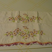 Colorful Flowers with Purple Crocheted Trim Pillow cases