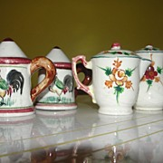 Rooster and Flowers Coffee Pot and Kettle Salt and Pepper Shakers