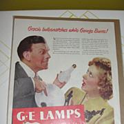 Burns and Allen GE Bulbsnatcher Ad