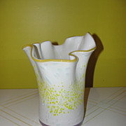 Yellow Lip White Art glass vase - b46