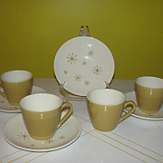 Mid-century Atomic Design Star Glow Royal China Cup and Saucers